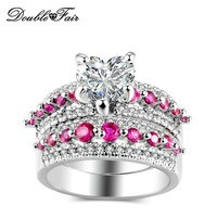 Double Fair Love Heart Pink Stone Rings Sets Silver Color Fashion Wedding Party Crystal Ring Sets For Women Jewelry RX24YG