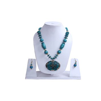 """Beach, Chunky, 14"""" Necklace Set with Blue Wood , Amber Seeded Beads With Hoop Earrings"""
