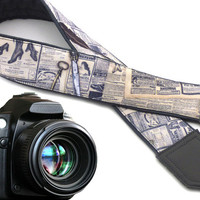 InTePro newspaper camera strap. Vintage camera strap. Text and feather. Grey DSLR / SLR Camera Strap. Camera accessories.