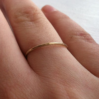 Gold Fill Hammered Textured Thin Ring  - All sizes