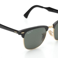 Ray-Ban Black & Gold Clubmaster Aluminum Frame Sunglasses RB 3507