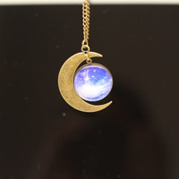 Moon necklace, time gem necklace, cosmic necklace, beautiful moon charm necklace, Christmas gift