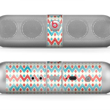 The Vintage Red & Blue Chevron Pattern Skin for the Beats by Dre Pill Bluetooth Speaker
