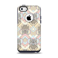 The Vintage Abstract Owl Tan Pattern Apple iPhone 5c Otterbox Commuter Case Skin Set