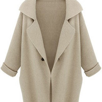 Apricot Lapel Long Sleeve Loose Trench Coat - Sheinside.com