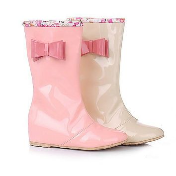 Bowtie Patent Leather Mid Calf Rain Boots 5308