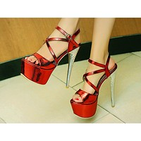 Fashion High-heeled Shoes New Slim-heeled Sexy Night Club Fishmouth Shoes with Super High-heeled Sandals