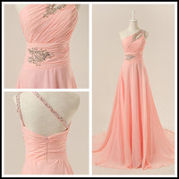 Beads One shoulder Pink prom dress ,long party dresses ,evening gown 2014