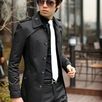 Men Slim Fit Front Button Stylish Fashion Trench Coat