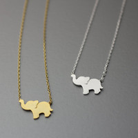 Elephant, Dumbo Necklace -  Available color as listed ( Gold, Silver )