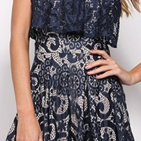 Take My Hand Navy Blue White Lace Sleeveless Scoop Neck Racerback Tiered Short Romper