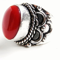 Red Stone Ring  Vintage Size 55 Tribal Costume by MaejeanVINTAGE