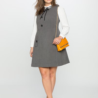 Wool Asymmetrical Button Dress | Women's Plus Size Dresses | ELOQUII