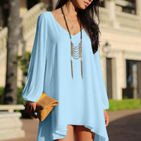 Light Blue Loose Fitting Mini Chiffon Dress with Sleeves Slit