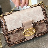 New trendy brand leather chain small square bag printing shoulder messenger bag