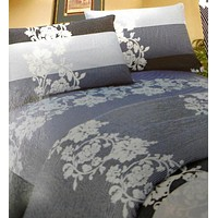 DaDa Bedding Navy Blue Floral Striped Fitted Flat Sheets & Pillow Cases Set (FSFS8153)