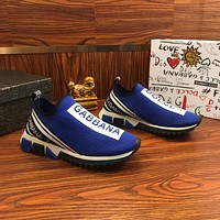 Dolce & Gabbana D&G Stretch Mesh Sorrento Sneakers With Logo Blue