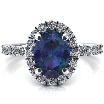 Talia Oval Alexandrite 4 Prong Halo 5/8 Micropave Engagement Ring