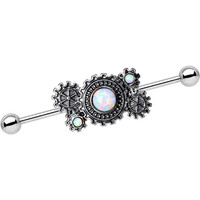 14 Gauge White Imitation Opal Get in Gear Charm Industrial Barbell | Body Candy Body Jewelry