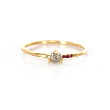 14kt Gold Salt & Pepper Diamond and Ruby Mirage Ring