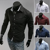 Solid color dress shirts men Special buckles pure color shirt ,M-3XL casual shirt ,5 color long sleeve Shirts