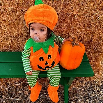 Halloween Costume Infant Baby Clothes Boy Girl Pumpkin Hoodie T Shirt+ Hat+Shoes