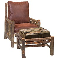 Hickory Log Frame Lounge Chair and Ottoman with Upgrade Fabric and Cushion