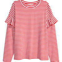 Jersey Top with Ruffles - from H&M