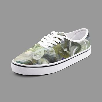 Abstract Fluid Lines of Movement Muted Tones Unisex Canvas Shoes Fashion Low Cut Loafer Sneakers by The Photo Access