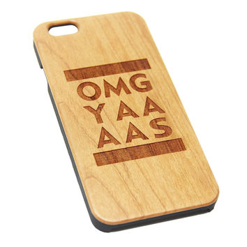 OMG YAAAAS Natural Wood Engraved iPhone 6s Case iPhone 6s plus Cover iPhone 6 5s 5 Real Wooden Case