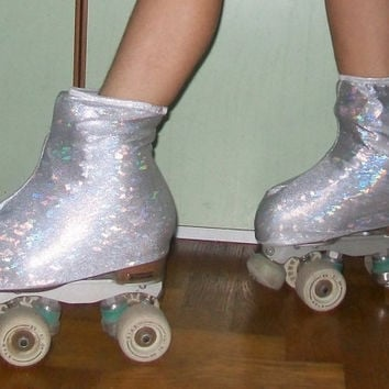 White silver hologram skate boot covers