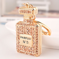 High Quality Fashion Rhinestone Metal Perfume Bottle Key Chain