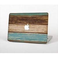 """The Wooden Planks with Chipped Green and Brown Paint Skin Set for the Apple MacBook Air 13"""""""
