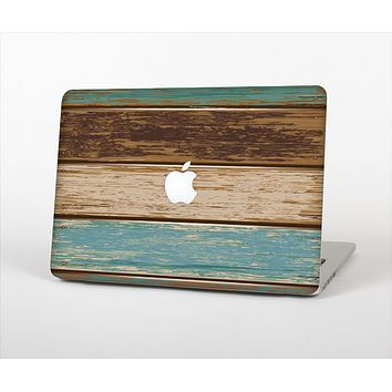 """The Wooden Planks with Chipped Green and Brown Paint Skin Set for the Apple MacBook Air 11"""""""