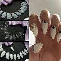 600pcs Sharp End Nail Art Full Cover Oval Stiletto False Fake Nails Tips Manicure Artificial Nails Salon FM88
