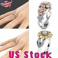 US Fashion Womens Sunflower Silver/Rose Gold Plated Zircon Ring Wedding Jewelry