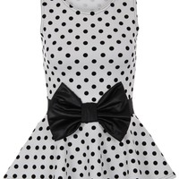Womens Polka Dot Spotted Wet Look Bow Sleeveless Flared Skater Peplum Top Party