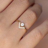 Wedding Set - Simple Round Diamond Ring & Pave Diamond V ring - 18k Gold