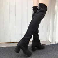 High Quality Women Fashion Winter Thigh High Boots Shoes Woman Fashion Botas Mujer 2018 New Suede Slim Boots Over The Knee High