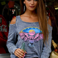 Owl Moon Phases Cold Shoulder Pullover