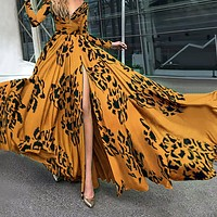 2020 Women's Deep V-Neck Long Sleeve Print Swing Dress Dress