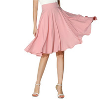 Big Swing High Waist Skirt 2016 Summer Women Clothing saias Casual Knee Length A-Line Pleated Midi Skirt faldas BQFS9973