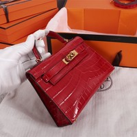 HCXX 19June 593 Hermes mini kelly second generation Crocodile pattern Fashion Handbag red