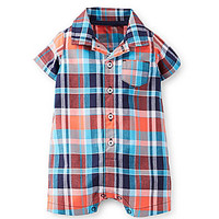 Carter's Newborn-24 Months Plaid Shortall - Blue/Multi