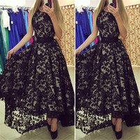Black And White Sleeveless Prom Ball Party Long Maxi Lace Dress