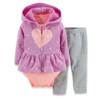 Carter's® 3-Piece French Terry Heart Hoodie, Bodysuit, and Pant Set in Purple/Coral