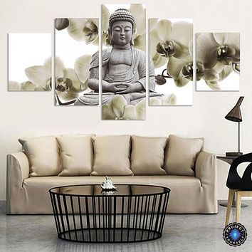 Limited Edition Feng Shui Buddha Painting 5 Piece Canvas