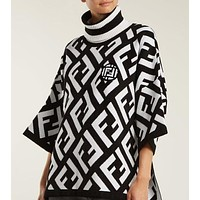FENDI New Trending Women Stylish Loose F Big Letter High Collar Stripe Long Sleeve Sweater Sweatshirt Top White/Black I12894-1