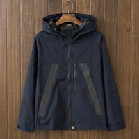 Men's Letters Print Slim Fit Quilted Lightweight Jackets with Hood