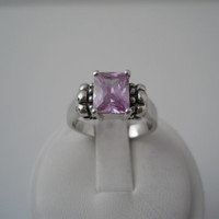Sterling Silver 925 Pink Or Light Purple Crystal Ring Size 9 Unmarked